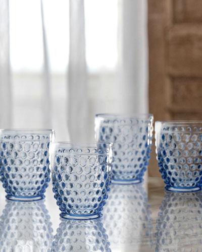 Bistro Dot Blue Old-Fashioned Glasses, Set of 4
