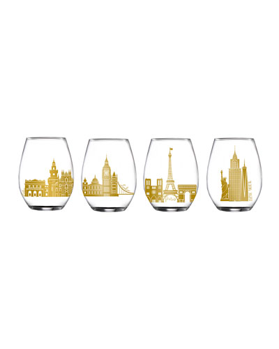 Cities Stemless Goblets, Set of 4