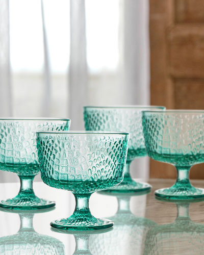 Bistro Croc Green Pedestal Bowls, Set of 4