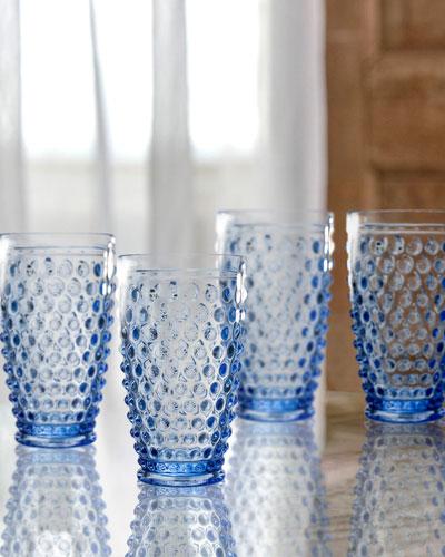 Bistro Dot Blue Highball Glasses, Set of 4