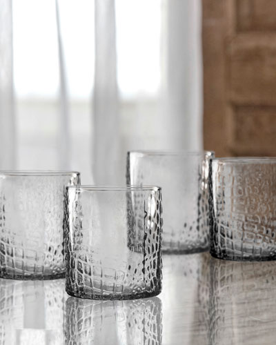 Bistro Croc Clear Old-Fashioned Glasses, Set of 4