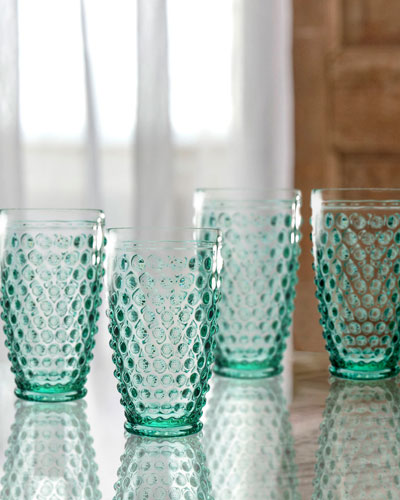Bistro Dot Green Highball Glasses, Set of 4