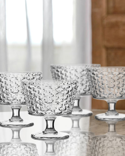 Bistro Weave Clear Pedestal Bowls, Set of 4