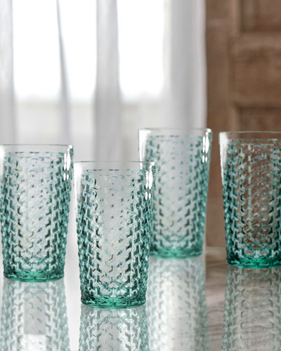 Bistro Weave Green Highball Glasses, Set of 4