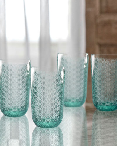 Bistro Key Green Highball Glasses, Set of 4