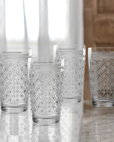 Bistro Ikat Clear Highball Glasses, Set of 4