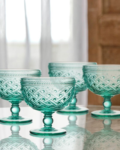 Bistro Ikat Green Pedestal Bowls, Set of 4