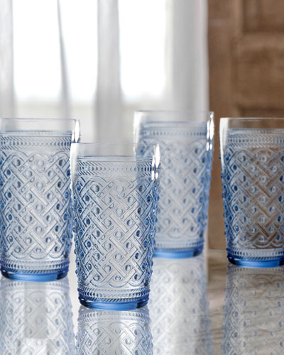 Bistro Ikat Blue Highball Glasses, Set of 4