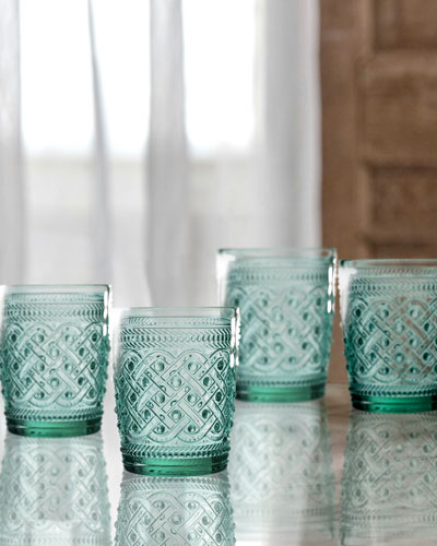 Bistro Ikat Green Double Old-Fashioned Glasses, Set of 4