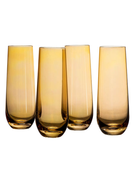 Amber Luster Stemless Flutes, Set of 4