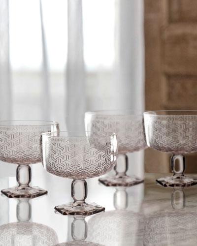Bistro Key Pink Pedestal Bowls, Set of 4