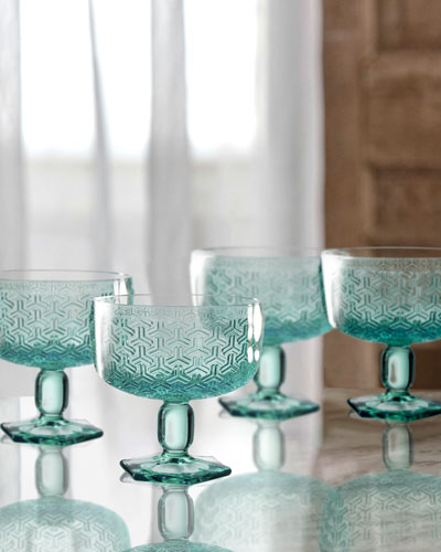 Bistro Key Green Pedestal Bowls, Set of 4