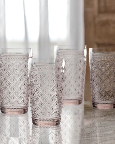 Bistro Ikat Pink Highball Glasses, Set of 4