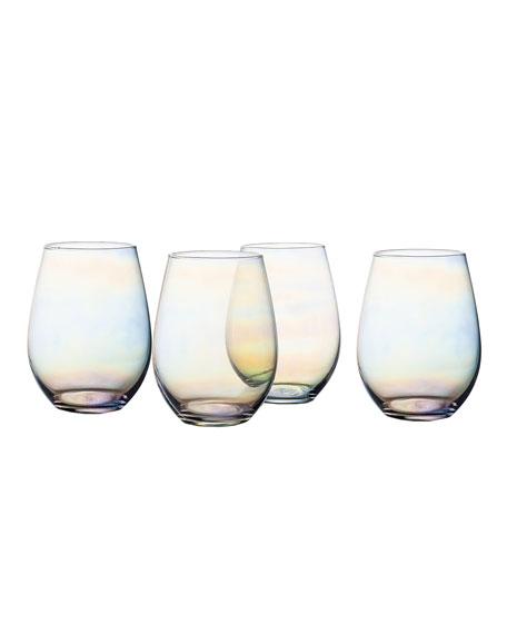 Kara Luster Stemless Wine Goblets, Set of 4