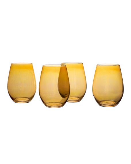 Amber Luster Stemless Wine Goblets, Set of 4
