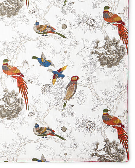 "Bird & Floral Tablecloth, 72"" x 108"""
