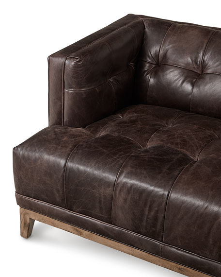 Hooker Furniture Quinn Tufted Leather Sofa 91.5""