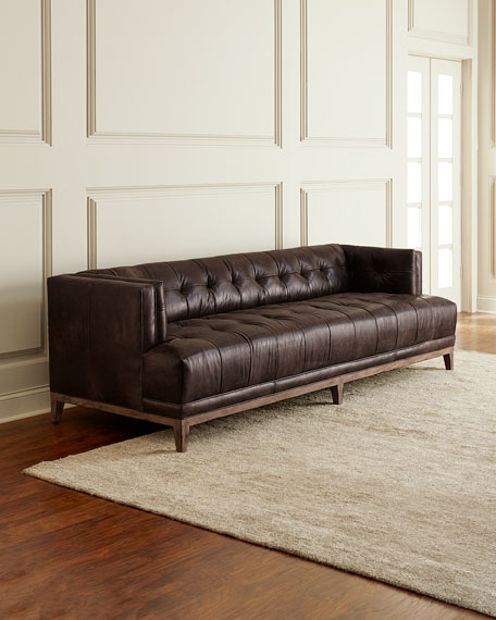 Hooker Furniture Quinn Tufted Leather Sofa 91.5