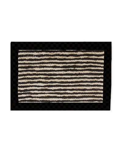 Black Braided Stripe Jute Rug  2' x 3'