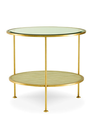 Century Furniture Adele Faux-Shagreen Glass End Table