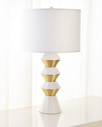 Ceramic and Metal Geo Table Lamp