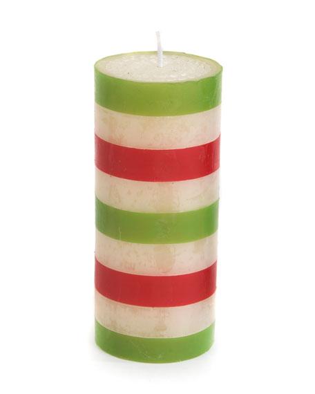 "MacKenzie-Childs Bands Pillar Candle, 6"""