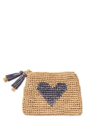 Heart Raffia Zip Pouch, Blue