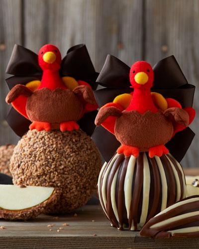 Turkey Ornament Triple Chocolate Jumbo Caramel Apples, 2 Pack