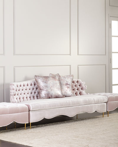 Valentina Sofa and Two Tufted Ottomans
