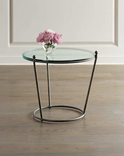 Cortland Round Iron & Glass End Table