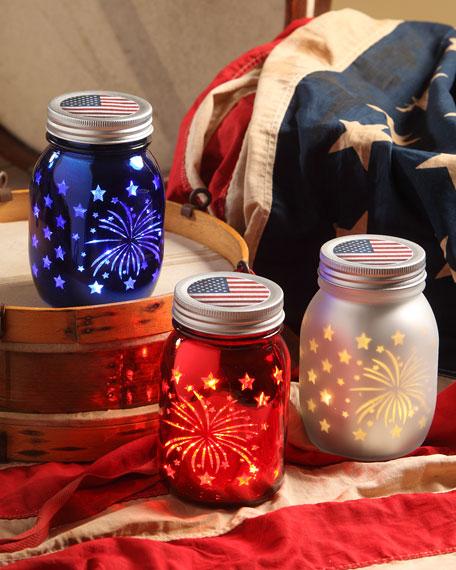 """Bethany Lowe Americana Luminary Jars, Set of 3, 5.5"""""""