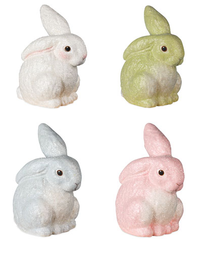 Glittered Egg Dyed Bunny Figurines  Set of 4
