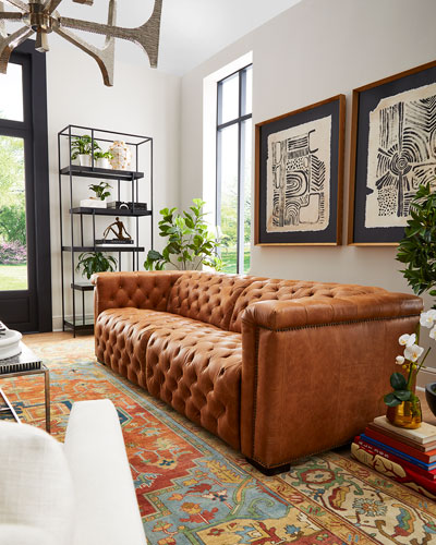 Luca Tufted Leather Motion Sofa  88