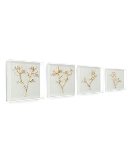John-Richard Collection Gold Branches Metal Art, Set of 4