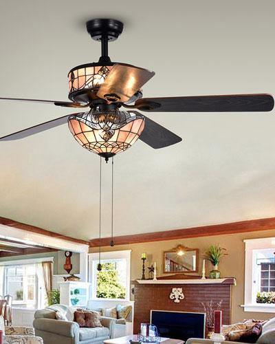 Orla Glass Chandelier Ceiling Fan