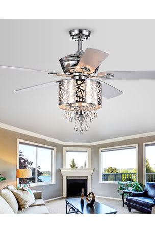 Home Accessories Chrome Tiered Crystal Chandelier Ceiling Fan
