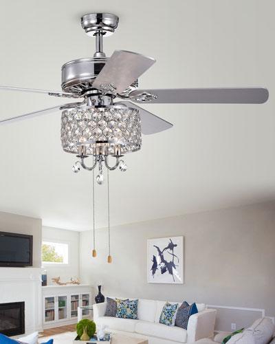 Round Crystal Chandelier Ceiling Fan