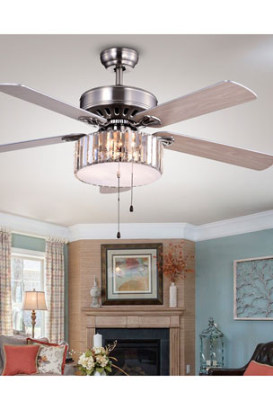 Home Accessories Crystal Drum Chandelier Ceiling Fan