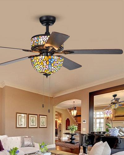 Tiffany Style Glass Chandelier Ceiling Fan