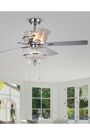 Home Accessories Crystal Baguette Chandelier Ceiling Fan
