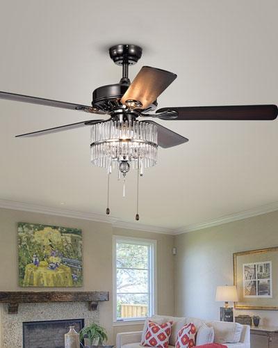 Black & Chrome Crystal Chandelier Ceiling Fan