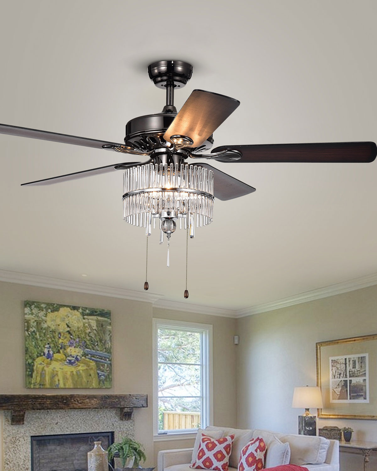 Black Chandelier Fan: Home Accessories Black & Chrome Crystal Chandelier Ceiling