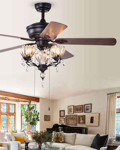 3-Light Crystal Drop Chandelier Ceiling Fan