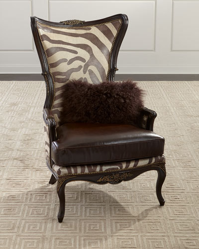Grevy Zebra Leather Wing Chair