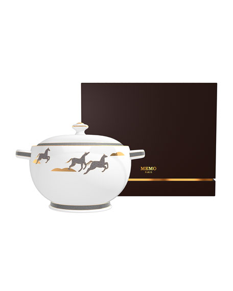 Memo Paris Mint from Irish Leather Soup Tureen Candle, 67 oz./ 1900 g