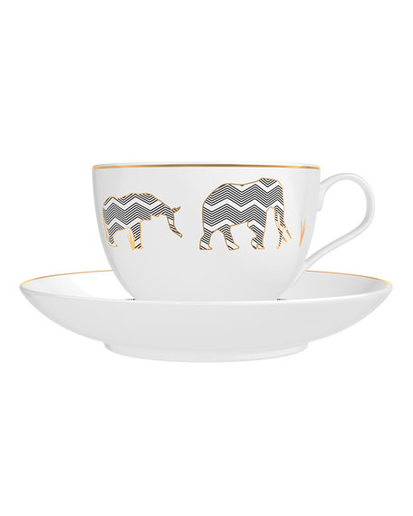Memo Paris Amber from African Leather Candle in Tea Cups Set, 2 x 4 oz./ 120 g