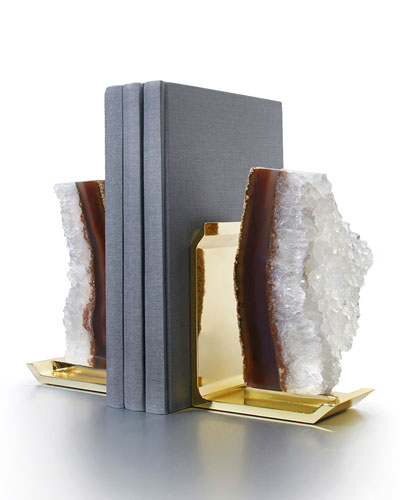 Fim Agate Druzy & Natural Brass Bookends