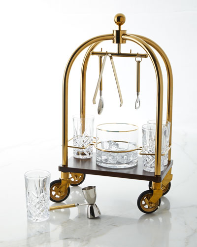 Mini Hotel Bar Cart Holder with Bar Tools Set