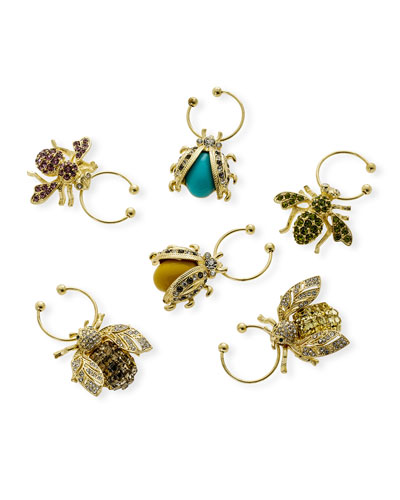 Bedazzled Bee Wine Charms  Set of 6