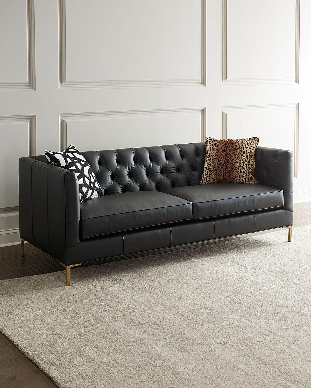 Ellyson Leather Tufted Sofa, 84\